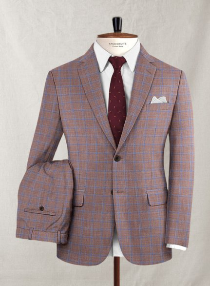 Reda Olita Brown Checks Wool Suit