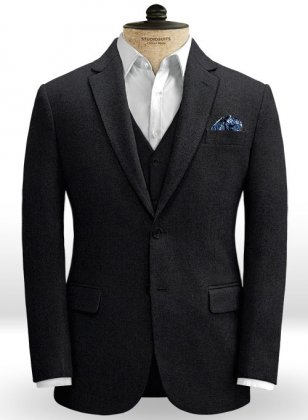 Blue Black Heavy Tweed Jacket