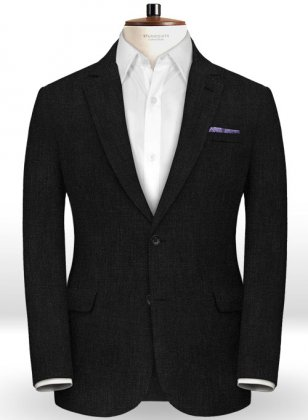 Italian Black Twill Linen Jacket