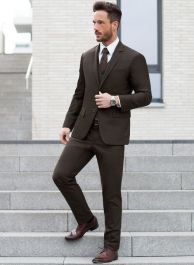 Caviar Twill Brown Wool Suit