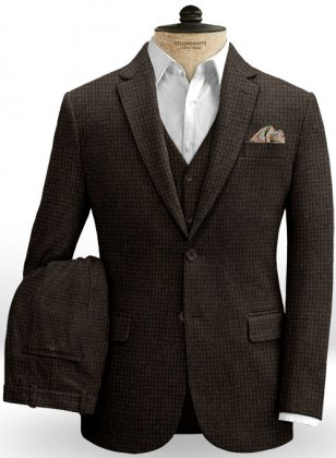 Houndstooth Dark Brown Tweed Suit