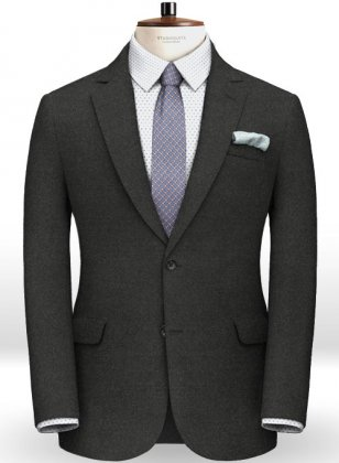 Italian Flannel Charcoal Wool Jacket