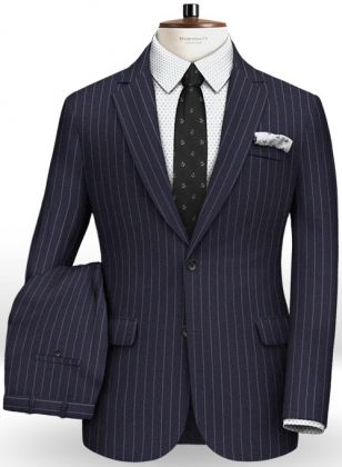 Reda Stripe Blue Pure Wool Suit