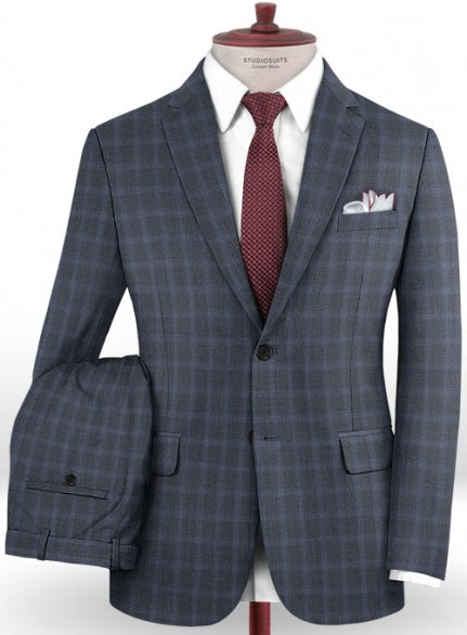 Reda Engora Blue Wool Suit