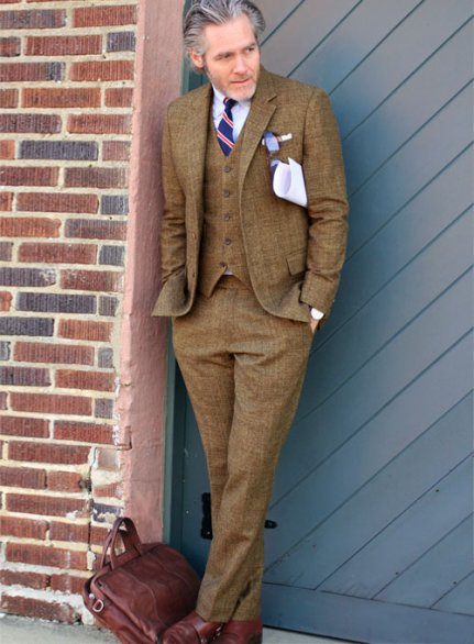 Vintage Glasgow Brown Tweed Suit - Ready Size