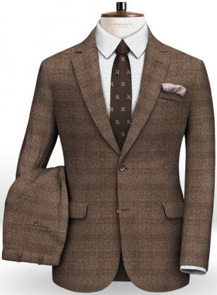 Saga Brown Feather Tweed Suit