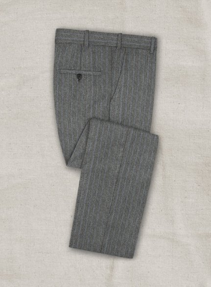 Zegna Rangel Gray Stripe Wool Pants