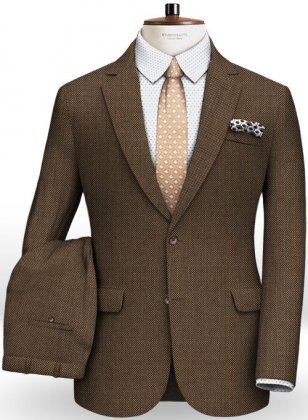 Napolean Brown Birdseye Wool Suit