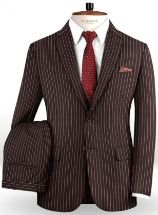 Napolean Brown Stripe Wool Suit