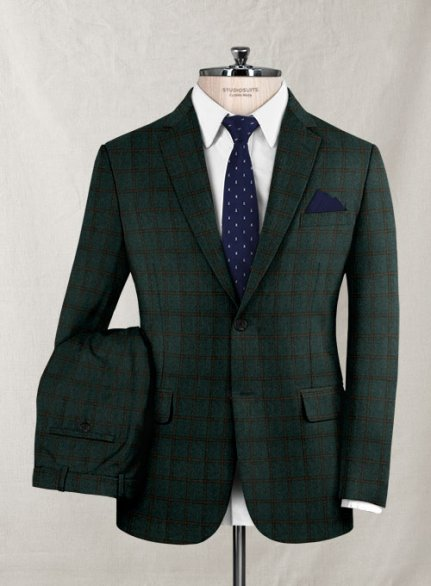 Italian Wool Cashmere Laura Green Checks Suit