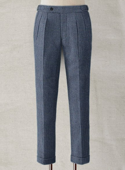 Vintage Herringbone Blue Highland Tweed Trousers