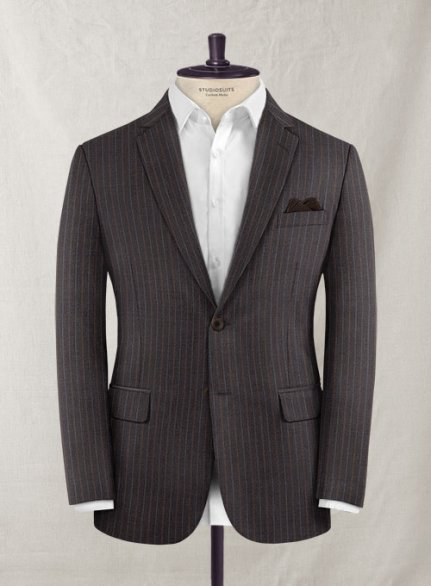 Charles Clayton Riside Brown Stripe Wool Cashmere Jacket
