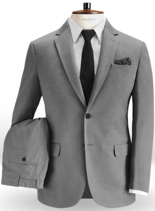 Gray Feather Cotton Canvas Stretch Suit