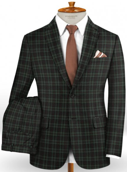 Napolean Sarcho Green Wool Suit