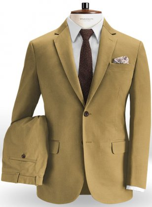 Khaki Feather Cotton Canvas Stretch Suit