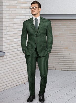 Napolean Green Stripe Wool Suit