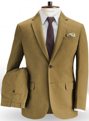 Tan Peach Finish Chino Suit