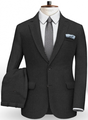 Napolean Mini Stripe Black Wool Suit