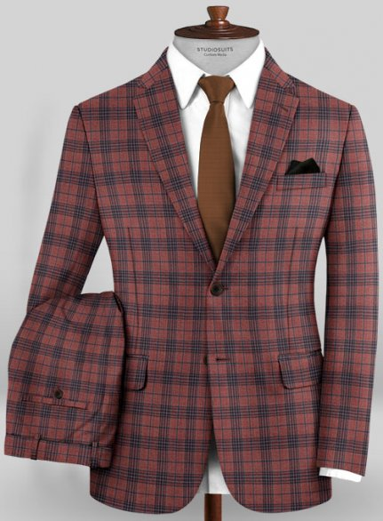 Scabal Mosaic Lazo Red Wool Suit