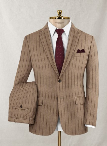 Italian Wool Cashmere Brown Stripe Suit