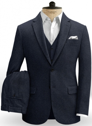 Blue Heavy Tweed Suit