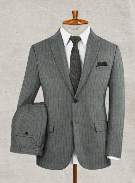 Zegna Rano Gray Stripe Wool Suit