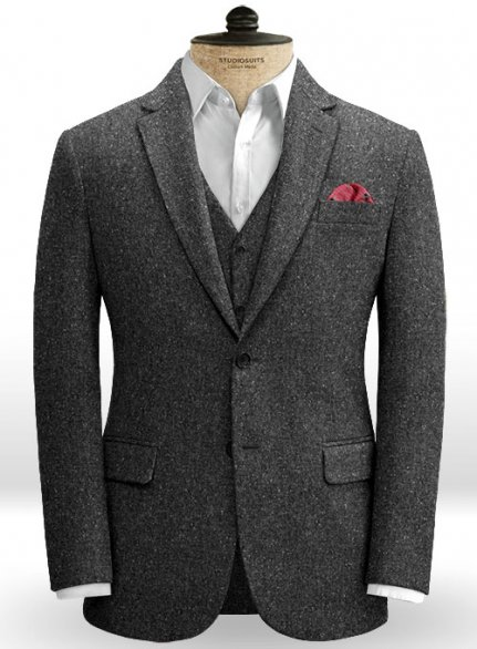 Charcoal Flecks Donegal Tweed Jacket