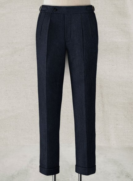 Deep Blue Herringbone Highland Tweed Trousers