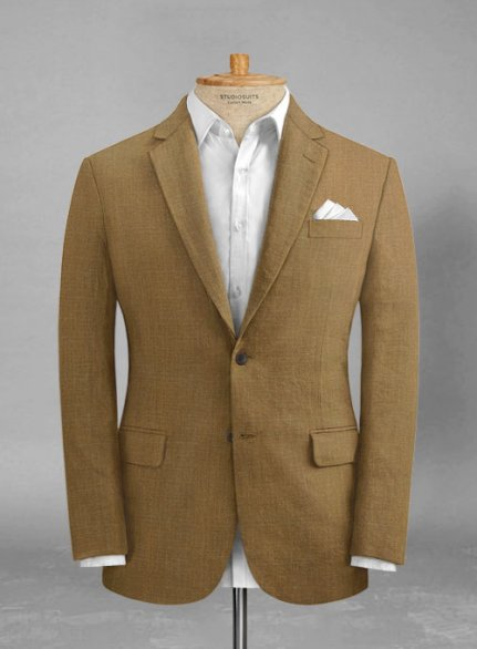 Sepia Brown Pure Linen Jacket