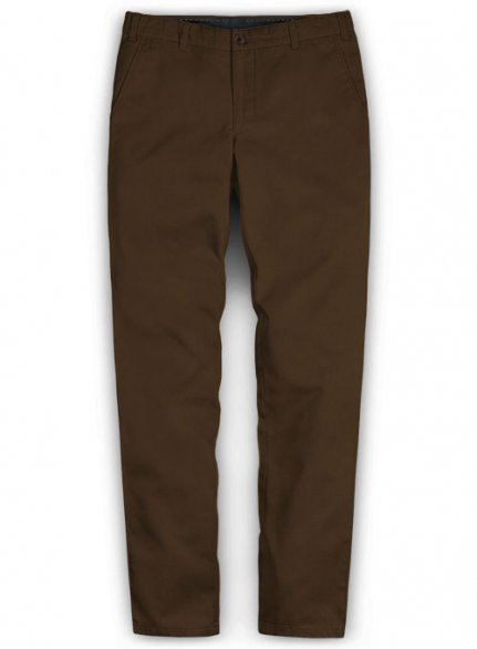 Washed Brown Feather Cotton Canvas Stretch Chino Pants