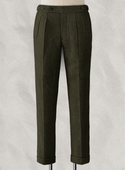 Vintage Flat Green Herringbone Highland Tweed Trousers