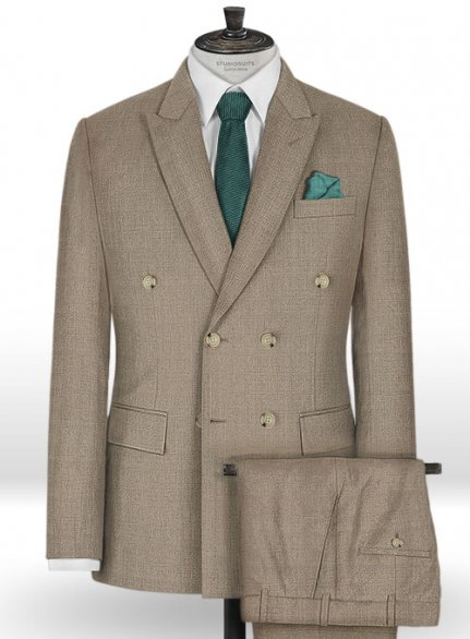 Napolean Sharkskin Light Brown Wool Suit