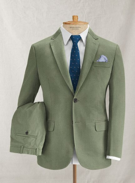 Italian Herringbone Green Cotton Suit