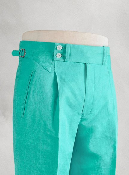 Safari Teal Blue Heritage Cotton Linen Trousers