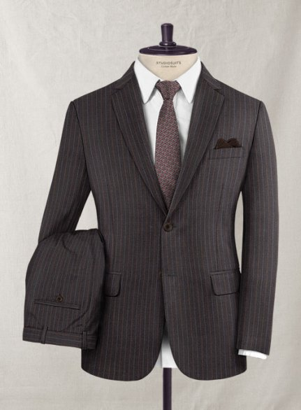 Charles Clayton Riside Brown Stripe Wool Cashmere Suit