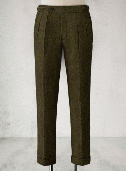 Light Weight Melange Green Highland Tweed Trousers