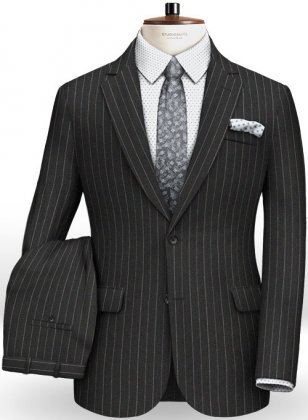 Reda Stripe Black Pure Wool Suit
