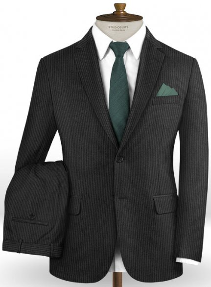 Napolean Mini Stripe Charcoal Wool Suit