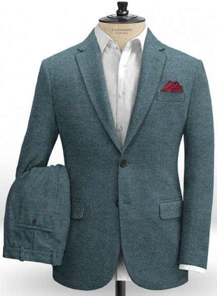Teal Blue Herringbone Tweed Suit