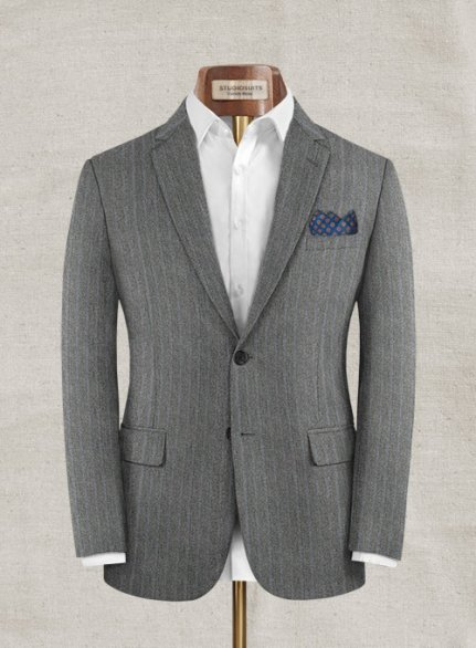 Zegna Rangel Gray Stripe Wool Jacket