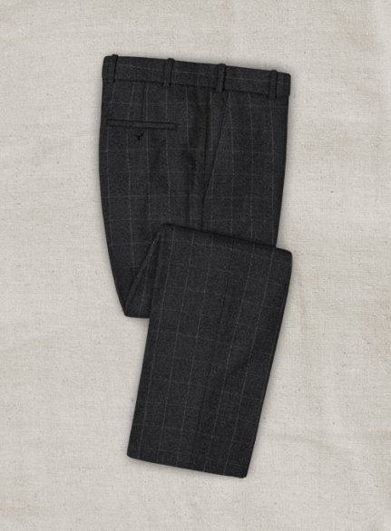 Mono Charcoal Checks Tweed Pants