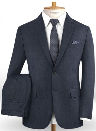 Sharkskin Steel Blue Wool Suit