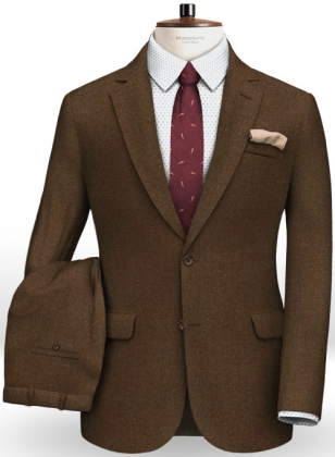 Italian Flannel Melange Brown Wool Suit