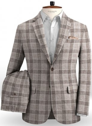 Solbiati Brown Checks Linen Suit