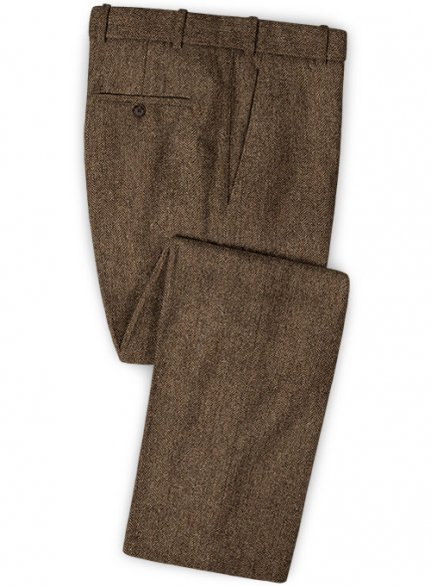 Rust Herringbone Tweed Pants
