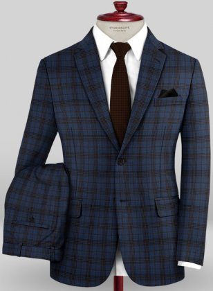 Scabal Mosaic Inzo Blue Wool Suit