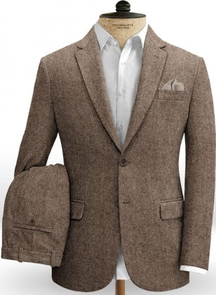 Vintage Twill Brown Tweed Suit