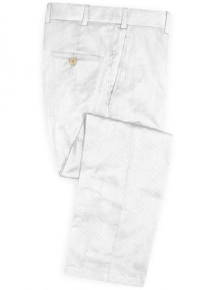 Stretch White Corduroy Pants