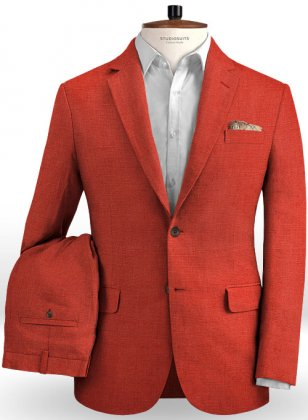 Safari Red Cotton Linen Suit