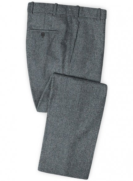 Mid Blue Herringbone Flecks Donegal Tweed Pants